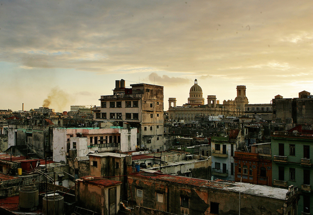 A view over Old Havana, Cuba, towards El Capitolio, seen from the window of our Casa.<br /> From 1997, the Cuban government allowed residents to rent rooms in their houses to tourists, they are called Casas Particulares.