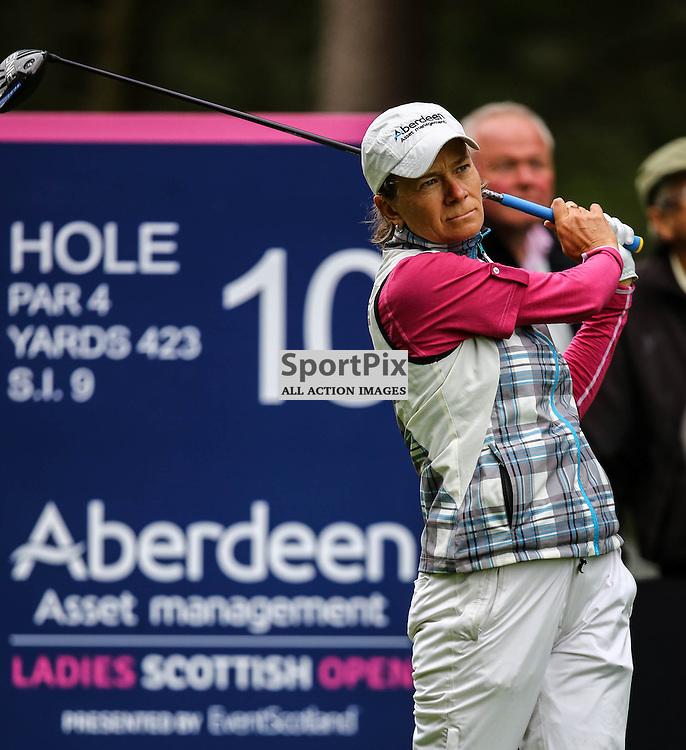 Previous winner Catriona Matthew (Scotland) watches her tee shot at the 10th. Aberdeen Asset Management Ladies Scottish Open (c) [Neil Bain] | SportPixPix.org.uk