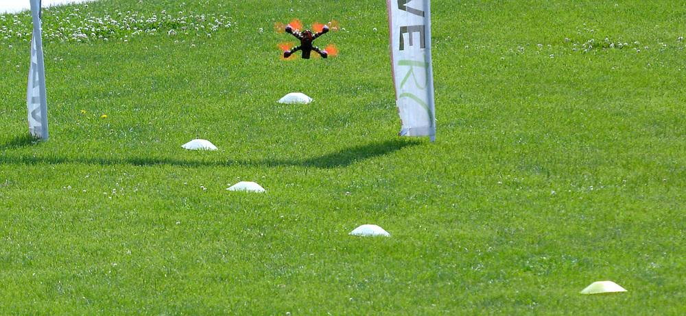 gbs062517j/ASEC - A drone follows small cones through a racing course during the Drone Discovery Day at the Anderson Abruzzo Albuquerque International Balloon Museum on Sunday, June 25, 2017. (Greg Sorber/Albuquerque Journal)