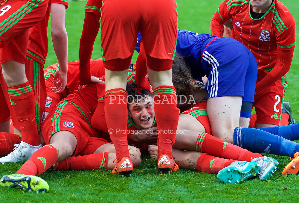 NEWPORT, WALES - Thursday, November 5, 2015: Wales' Steffan Buckeley celebrates scoring the third goal against Northern Ireland to win the Victory Shield during the Under-16's Victory Shield International match at Dragon Park. (Pic by David Rawcliffe/Propaganda)
