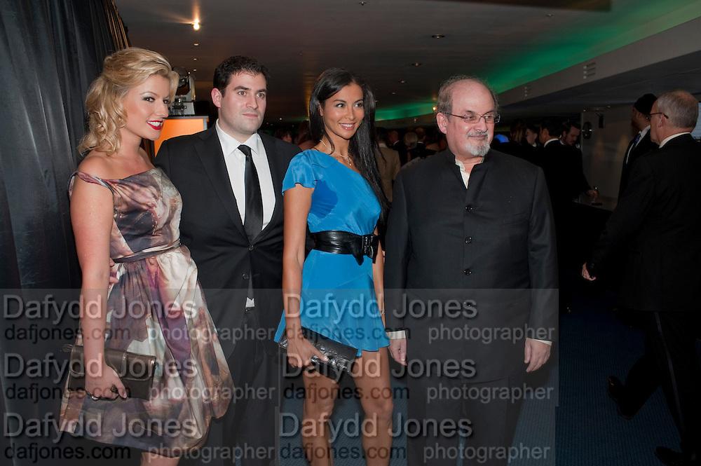 NATALIE COYLE; ZAFAR RUSHDIE; ELLA MONCLARE; SALMAN RUSHDIE, GQ Men of the Year awards. The royal Opera House. Covent Garden. London. 6 September 2011. <br /> <br />  , -DO NOT ARCHIVE-© Copyright Photograph by Dafydd Jones. 248 Clapham Rd. London SW9 0PZ. Tel 0207 820 0771. www.dafjones.com.