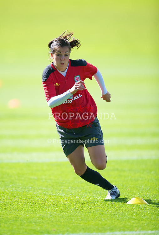 CARDIFF, WALES - Wednesday, September 12, 2012: Wales' Gwennan Harries during a training session at the Vale of Glamorgan ahead of the UEFA Women's Euro 2013 Qualifying Group 4 match against Scotland. (Pic by David Rawcliffe/Propaganda)