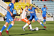 Peterborough United midfielder Marcus Maddison (21) takes on Blackpool defender Ryan McLaughlin (17) during the EFL Sky Bet League 1 match between Peterborough United and Blackpool at The Abax Stadium, Peterborough, England on 29 September 2018.
