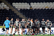 Hull FC winger Bureta Faraimo (2) scores a try and celebrates during the Betfred Super League match between Hull FC and Leeds Rhinos at Kingston Communications Stadium, Hull, United Kingdom on 19 April 2018. Picture by Mick Atkins.