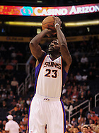 Oct. 22 2010; Phoenix, AZ, USA; Phoenix Suns guard-forward Jason Richardson (23) puts up a basket during the first half against the Denver Nuggets during a preseason game at the US Airways Center. The Nuggets defeated the Suns 144 - 106. Mandatory Credit: Jennifer Stewart-US PRESSWIRE.