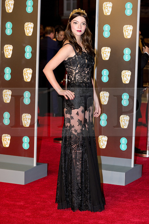 © Licensed to London News Pictures. 18/02/2018. ANYA TAYLOR JOY arrives on the red carpet for the EE British Academy Film Awards 2018, held at the Royal Albert Hall, London, UK. Photo credit: Ray Tang/LNP