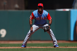 SAN FRANCISCO, CA - AUGUST 26: Adrian Beltre #29 of the Texas Rangers stands on the field during the fifth inning against the San Francisco Giants at AT&T Park on August 26, 2018 in San Francisco, California. The San Francisco Giants defeated the Texas Rangers 3-1. All players across MLB will wear nicknames on their backs as well as colorful, non-traditional uniforms featuring alternate designs inspired by youth-league uniforms during Players Weekend. (Photo by Jason O. Watson/Getty Images) *** Local Caption *** Adrian Beltre