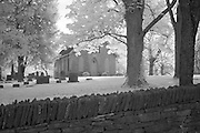 Infrared (IR) image - Old stone church and cemetery located just up the road from the farm shown in the previous photo.  The limestone fence shown in the foreground is typical for the region.