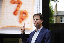 © Licensed to London News Pictures. 31/05/2017. London, UK. Former Liberal Democrat leader NICK CLEGG unveils a new poster in Kennington, London, attacking Prime Minister Theresa May's decision to scrap free school lunches and replace them breakfasts cost at just 7p each. Photo credit: Tolga Akmen/LNP