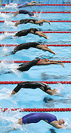 Swimmers start the final heat of the women's 50m Backstroke at the FINA World Championships in Montreal, Canada Wednesday 27 July, 2005. (Bottom to Top) Guam's Gisela Morales, Brazil's Fabiola Molina, Austria's Fabienne Nadarajah, Germany's Antje Buschschulte, Germany's Janine Pietsch, Denmark's Louise Ornstedt, Ukraine's Iryna Amshennikova and Croatia's Sanja Jovanovic.
