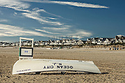 A proverbial image of a lifeguard boat and station in Ocean City, NJ; both still resting from the prior night.
