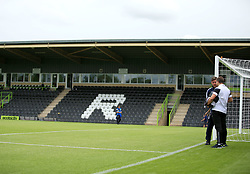 Bristol Rovers manager Darrell Clarke and Forest Green Rovers manager Mark Cooper chat in the New Lawn Stadium - Mandatory by-line: Paul Roberts/JMP - 22/07/2017 - FOOTBALL - New Lawn Stadium - Nailsworth, England - Forest Green Rovers v Bristol Rovers - Pre-season friendly