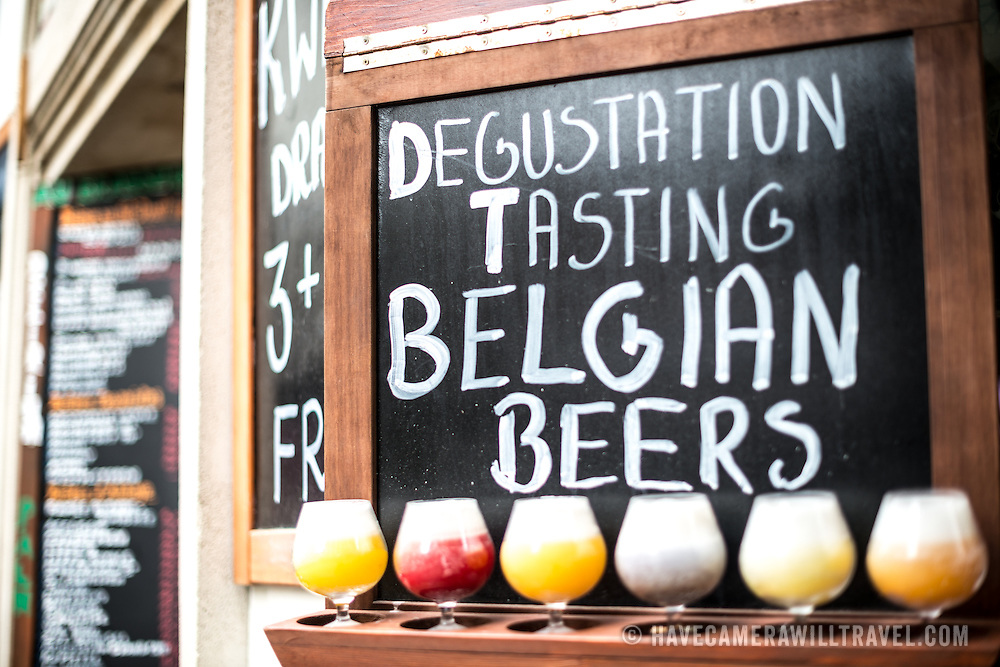 A sign advertising a beer tasting menu at a bar in the Lower Town of Brussels just off the Grand Place. Belgium is renowned for its historic and varied beers.