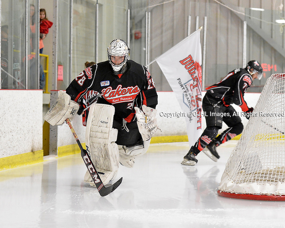 FORT FRANCES, ON - May 2, 2015 : Central Canadian Junior &quot;A&quot; Championship, game action between the Fort Frances Lakers and the Soo Thunderbirds, Championship game of the Dudley Hewitt Cup. Pierce Dushenko #28 of the Fort Frances Lakers takes to the ice prior to the start of the game.<br /> (Photo by Shawn Muir / OJHL Images)