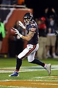 Chicago Bears tight end Zach Miller (86) catches a 20 yard touchdown pass in the end zone that ties the fourth quarter score at 17-17 after a two point conversion during the 2017 NFL week 5 regular season football game against the against the Minnesota Vikings, Monday, Oct. 9, 2017 in Chicago. The Vikings won the game 20-17. (©Paul Anthony Spinelli)