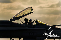 RAAF F/A-18 Super Horne returns from it's display at the 2015 Australian International Airshow, Avalon Airport, Victoria.