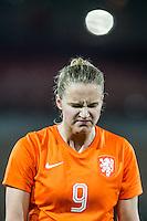 ROTTERDAM - Nederland - Zweden , Voetbal , Seizoen 2015/2016 , damesvoetbal , vrouwen , Olympisch kwalificatie toernooi , Sparta Stadion het Kasteel , 09-03-2016 , Nederland speelster Vivianne Miedema baalt en loopt teleurgesteld en verdrietig van het veld