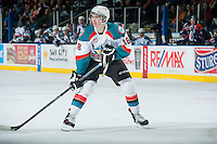 KELOWNA, CANADA - FEBRUARY 18: Tate Coughlin #18 of Kelowna Rockets skates against the Kamloops Blazers on February 18, 2015 at Prospera Place in Kelowna, British Columbia, Canada.  (Photo by Marissa Baecker/Shoot the Breeze)  *** Local Caption *** Tate Coughlin;