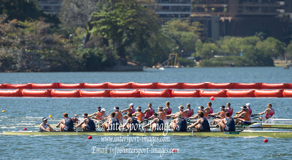 Rio de Janeiro. BRAZIL. GBR M8+. Bow. DURANT, Scott. RANSLEY, Tom. Triggs HODGE, Andrew T. GOTREL, Matt. REED, Pete. BENNETT, Paul. LANGRIDGE, Matt. SATCH, William and Cox. HILL, Phelan  2016 Olympic Rowing Regatta. Lagoa Stadium,<br />