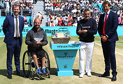 June 24, 2018 - London, England, United Kingdom - Men's wheelchair presentation with winner Stefan Olsson of Sweden (2nd left) and runner up Stephane Houdet of France (2nd right) during Day 7 of the Fever-Tree Championships at Queens Club on June 24, 2018 in London, United Kingdom  (Credit Image: © Kieran Galvin/NurPhoto via ZUMA Press)
