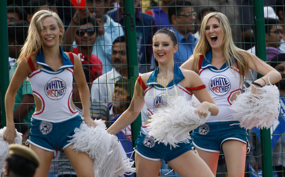 Deccan Chargers Cheerleaders during match 19 of the Indian Premier League ( IPL ) Season 4 between the Delhi Daredevils and the Deccan Chargers held at the Feroz Shah Kotla Stadium in Delhi, India on the 19th April 2011..Photo by Pankaj Nangia/BCCI/SPORTZPICS.