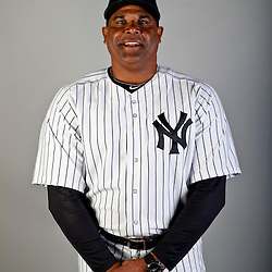 Feb 20, 2013; Tampa, FL, USA; New York Yankees bullpen coach Mike Harkey (57) during photo day at Steinbrenner Field. Mandatory Credit: Derick E. Hingle-USA TODAY Sports