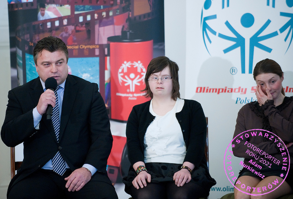 (L) Member of parliament and former soccer player Roman Kosecki with athletes of Special Olympics attend a meeting with First Lady Anna Komorowska in Presidential Palace in Warsaw on February 26, 2013..The mission of Special Olympics is to provide sports training and athletic competition for children and adults with intellectual disabilities...Poland, Warsaw, February 26, 2013..Picture also available in RAW (NEF) or TIFF format on special request...For editorial use only. Any commercial or promotional use requires permission...Photo by © Adam Nurkiewicz / Mediasport