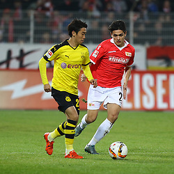 24.01.2016, Stadion An der Alten Foersterei, Berlin, GER, Testspiel, 1. FC Union Berlin vs. Borussia Dortmund, im Bild Shinji Kagawa (#23, Borussia Dortmund), Eroll Zejnullahu (#27, 1. FC Union Berlin) // during a preperation Football Match between 1. FC Union Berlin and Borussia Dortmund at the Stadion An der Alten Foersterei in Berlin, Germany on 2016/01/24. EXPA Pictures © 2016, PhotoCredit: EXPA/ Eibner-Pressefoto/ Hundt<br /> <br /> *****ATTENTION - OUT of GER*****