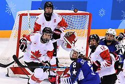 PYEONGCHANG, Feb. 22, 2018  Players vie for the puck during women's ice hockey final between Canada and the United States at Gangneung Hockey Centre, in Gangneung, South Korea, Feb. 22, 2018. The United States beat Canada in shootout to win the women's ice hockey gold medal at the Winter Olympic Games here on Thursday. (Credit Image: © Ju Huanzong/Xinhua via ZUMA Wire)