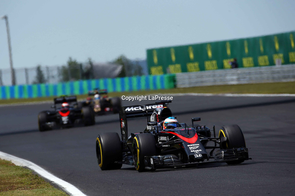 &copy; Photo4 / LaPresse<br /> 26/07/2015 Budapest, Hungary<br /> Sport <br /> Grand Prix Formula One Hungary 2015<br /> In the pic: Fernando Alonso (ESP) McLaren Honda MP4-30