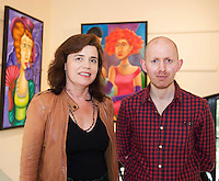 Margaret Nolan with Artist  Frank O'Sullivan whose Exhibition of new work opening at the Town Hall Theatre Galway which runs till Wed the 15th of June  . Photo:Andrew Downes, xposure