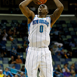 December 21, 2011; New Orleans, LA, USA; New Orleans Hornets small forward Al-Farouq Aminu (0) shoots against the Memphis Grizzlies during the second half of a preseason game at the New Orleans Arena. The Hornets defeated the Grizzlies 95-80.  Mandatory Credit: Derick E. Hingle-US PRESSWIRE