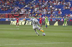 June 13, 2018 - Harrison, New Jersey, United States - Goalkeeper Stefan Frei (24) of Seattle Sounders kicks ball during regular MLS game against New York Red Bulls at Red Bull Arena Red Bulls won 2 - 1  (Credit Image: © Lev Radin/Pacific Press via ZUMA Wire)