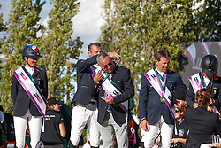 Team FRA Penelope Leprevost, De Ponnat Aymeric helping out chef d'equipe Philippe Guerdat,  Delestre Simon<br /> Furusiyya FEI Nations Cup Jumping Final <br /> CSIO Barcelona 2013<br /> © Dirk Caremans