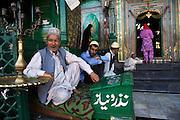 Moslems visit the beautifully adorned Shah Hamdan Shrine in Srinagar.