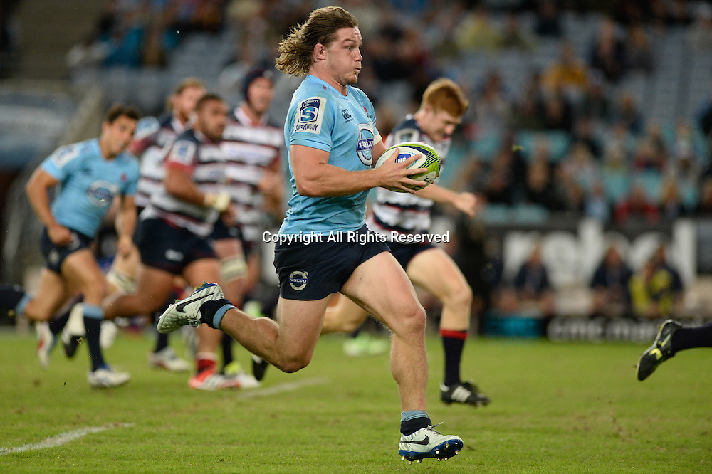 25.04.2015.  Sydney, Australia. Super Rugby. NSW Waratahs versus Melbourne Rebels. Waratahs flanker Michael Hooper in action. The Waratahs won 18-16.