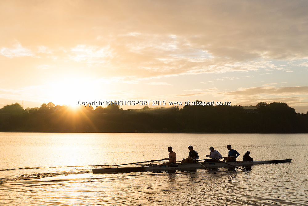 General view, sunrise, at the Rowing NZ Media Day, Lake Karapiro, Cambridge, New Zealand, Wednesday 6 May 2015. Photo: Stephen Barker/Photosport.co.nz