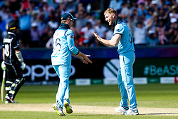 Ben Stokes of England celebrates with Eoin Morgan of England after taking the wicket of Colin de Grandhomme of New Zealand - Mandatory by-line: Robbie Stephenson/JMP - 03/07/2019 - CRICKET - Emirates Riverside - Chester-le-Street, England - England v New Zealand - ICC Cricket World Cup 2019 - Group Stage