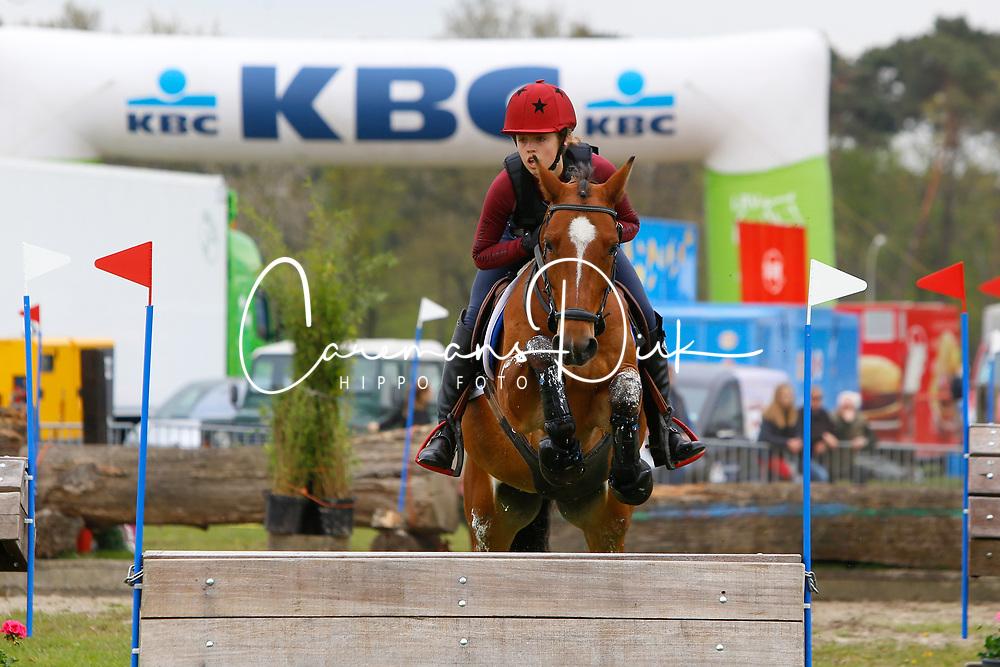 Sutherland Julie, BEL, Kairo &quot;E&quot; van het Juxschot<br /> Nationale LRV-Eventingkampioenschap Ponies Minderhout 2017<br /> &copy; Hippo Foto - Kris Van Steen<br /> 29/04/17