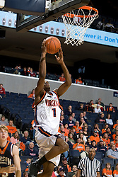 Virginia Cavaliers G Jeff Jones (1) goes up for a dunk.  The Virginia Cavaliers men's basketball team defeated the Carson-Newman Eagles 124-65 in an exhibition basketball game at the John Paul Jones Arena in Charlottesville, VA on November 4, 2007.
