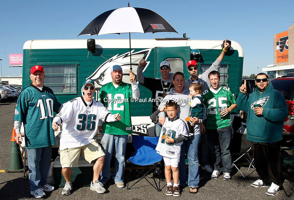 Fans tailgate prior to the Philadelphia Eagles NFL week 6 football game against the Atlanta Falcons on Sunday, October 17, 2010 in Philadelphia, Pennsylvania. The Eagles won the game 31-17. (©Paul Anthony Spinelli)