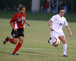 Virginia's Sarah Huffman (#10) against NC State.  UVA outscored NCSU 2-0 in the final ACC matchup of the season.