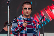 Pilton, Somerset, UK. 29th June 2019. Liam Gallagher plays the Pyramid Stage - The 2019 Glastonbury Festival, Worthy Farm, Glastonbury.