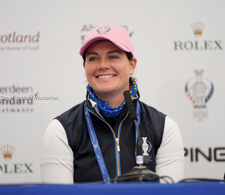 Auchterarder, Scotland, UK. 12 September 2019. Press conference with Team Europe players for the 2019 Solheim Cup. Pictured; Caroline Masson.  Iain Masterton/Alamy Live News