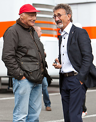 28.08.2011, Circuit de Spa, Francorchamps, BEL, F1, Grosser Preis von Belgien, im Bild Niki Lauda, ehemaliger Formel 1 Fahrer und Weltmeister unterhält sich mit Eddie Jordan, ehemaliger Formel 1 Fahrer und Teamchef // during race at Formula One Championships 2011 Belgian Grand Prix held at the Circuit de Spa, Francorchamps, Belgium, 28/8/2011, EXPA Pictures © 2011, PhotoCredit: EXPA/ J. Groder
