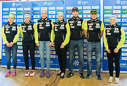 Alenka Cebasek, Lea Einfalt, Ana Marija Lampic, Vesna Fabjan, Bostjan Klavzar, Miha Simenc and Nika Razinger during official presentation of the outfits of the Slovenian Ski Teams before new season 2015/16, on October 6, 2015 in Kulinarika Jezersek, Sora, Slovenia. Photo by Vid Ponikvar / Sportida