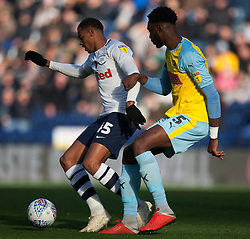 Lukas Nmecha of Preston North End (L) and Semi Ajayi of Rotherham United in action - Mandatory by-line: Jack Phillips/JMP - 27/10/2018 - FOOTBALL - Deepdale - Preston, England - Preston North End v Rotherham United - English League Championship