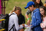 Women's Pault Vaulter Katie Nageotte (USA) signs autographs at the Muller Grand Prix at Alexander Stadium, Birmingham, United Kingdom on 18 August 2018. Picture by Ian Stephen.