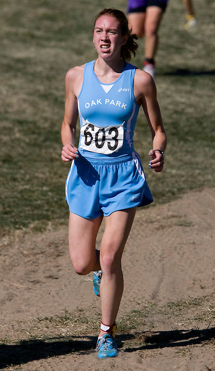 Kyla Sommers of Oak Park high school races in the the 2007 MSHSAA cross country girls class four championships at the Oak Hills golf center in Jefferson City, MO on Saturday, November 3rd, 2007. Sommers placed 50th individually, while the Oak Park team placed 9th overall. Photo by Patrick Fallon