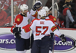 April 24, 2012; Newark, NJ, USA; The Florida Panthers celebrate a goal by Florida Panthers left wing Sean Bergenheim (20) during the second period of game six of the 2012 Eastern Conference quarterfinals at the Prudential Center.